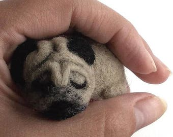 Sleeping Pug Brooch Needle Felting Wool Jewelry Cute Dog gift