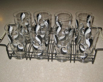 Mint Vintage Mid Century Tom Collins glassware set of 8 with holder thick bottoms Black and White leaf design 1950's