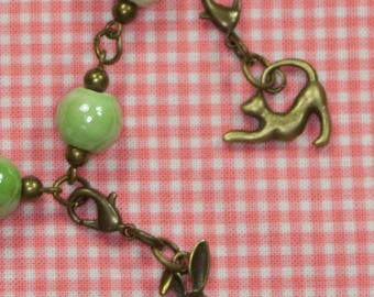 Jadite Green Porcelain Beaded Easter Bunny Charm Bracelet With Additional Cat Charm