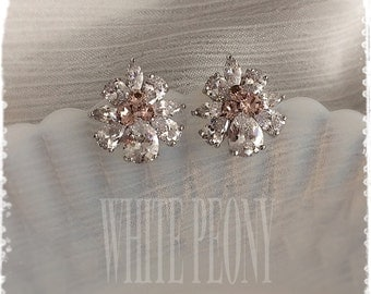 """Blush Pink Vintage Inspired Bridal Crystal Earrings-Gatsby Downton Abbey Old Hollywood Cubic Zirconia CZ Studs Earrings-""""NOEMI vintage rose"""""""
