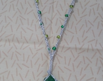 Green Sea Glass Pendant with Dangles and Beaded Necklace, Nautical, Beach, lightwieght
