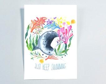 Narwhal Just Keep Swimming Watercolor Art Print