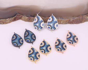 10Pcs Micro Pave CZ Evil Eye Drop Connector Pendant,Turkish Evil Eye Connector Charm