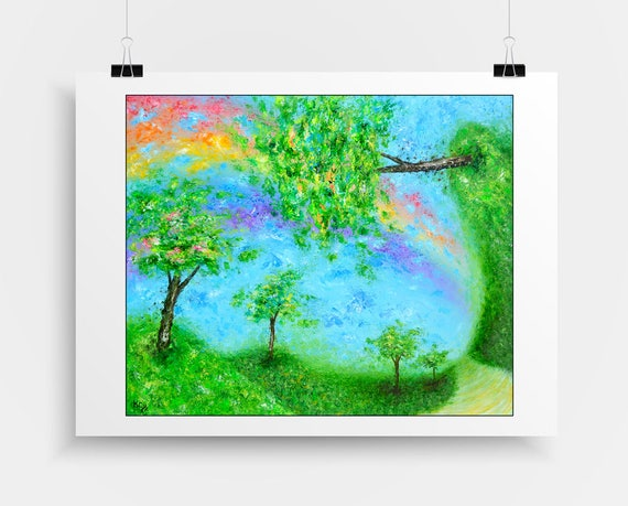 Visionary Wall Art. Hippie Wall Decor. Rainbow Art Print. Hippie Dorm Decor. Dorm Art. Surreal Art. Landscape Dream Art Print.