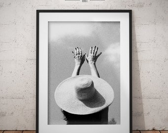 Print Art, Reaching to the sky, Black & White Photography, woman hands, big hat, Printable wall art, Instant Digital Download, Print Poster