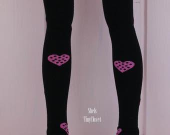 Minifee Stockings - Handmade, Slim bjd stockings, Minifee Socks, black stockings, heart print.