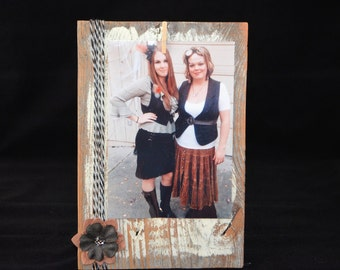 8x5 Rustic photo frame, Frame with clothspin with twine, ready to ship, 11.00