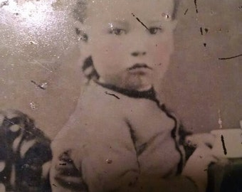 Large Full Plate, Rare Tintype of Toddler Wearing an Unusually Cute Suit, Elf Suit, Christmas