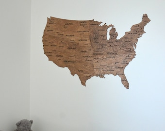 Map of USA Wall Map Wooden United States Travel Rustic Home Decor Living Room Office Housewarming Gift for New Home for Parents