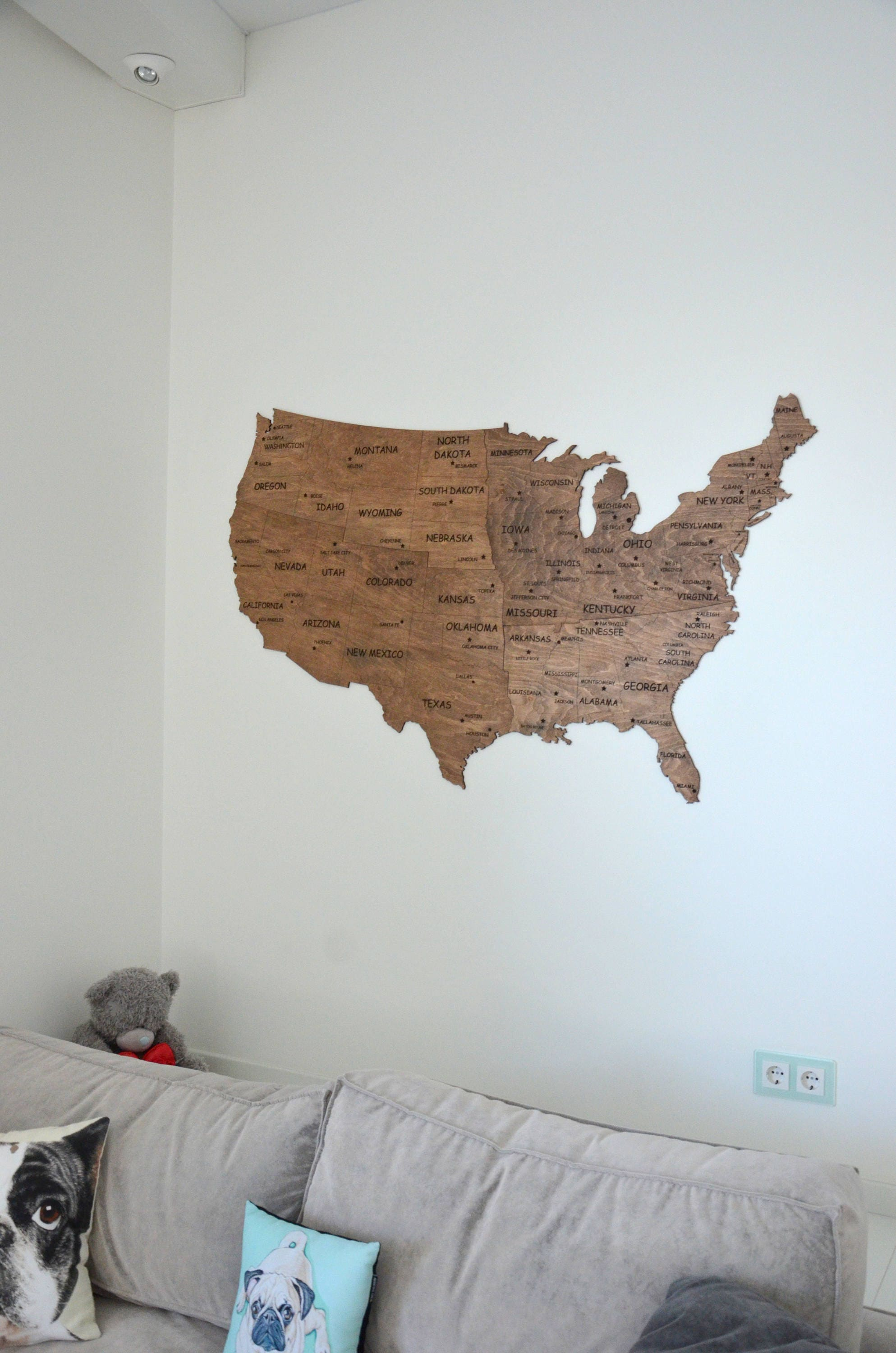 Map Of USA Wall Map Wooden United States Travel Rustic Home - Usa large wall map