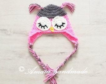 Owl hat, Baby girl animal hat for Newborn to 12 Months, Great as an Baby girl shower gift