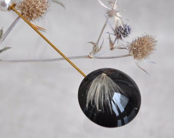Brooch needle dandelion. Brooch for clothes. Brooch dandelion in epoxy resin. Brooch with pearl beads