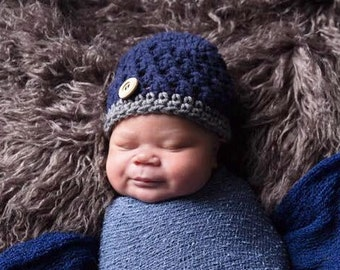 Newborn Crochet Hat, Toddler Boy Hat, Photo Prop, Baby Boy Hat, Baby Shower Gift, Baby Boy, Crochet Baby Hat, Baby Boy Beanie, Baby Hat