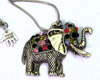 Silver necklace handmade crystal Elephant Necklace , lucky elephant necklace. animal, nature, Elephant jewellery. Perfect gifts for her.
