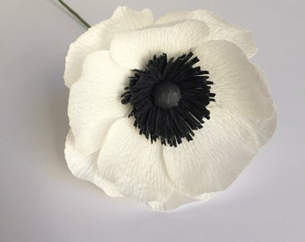 Crepe Paper White Anemone, Single Stem, Paper Flowers, Wedding, Bridal, Events, Home Decor, Gifts