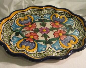 Stunning  Vintage Talavera Wall Platter from Puebla City, Mexico -- Mexican Art