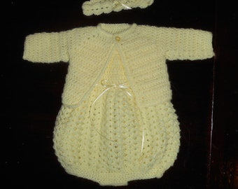 Crocheted Baby Bubble Romper with Sweater and Headband-Baby Yellow