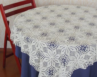 beige crocheted tablecloth, tablecloth for round table,  handmade tablecloth, beige tablecloth, handmade lace