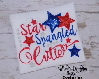 Exclusive Star Spangled Cutie Applique Design, Machine Embroidery Design, 4th of July, Fourth of July, Girl Applique, 5x7, 6x10