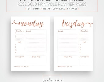 A5, Undated printable planner pages, Rose gold Planner Pages, Organizer inserts, rose gold inserts, Planner Pack, Organizer printable