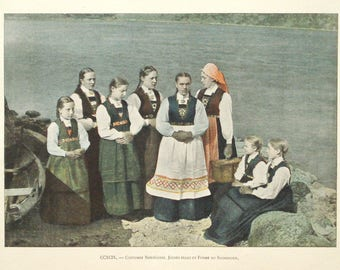 1895 Norwegian girls print - Norway, folk, traditional dress, victorian wall decor - 122yr old antique photographic illustration (C552)