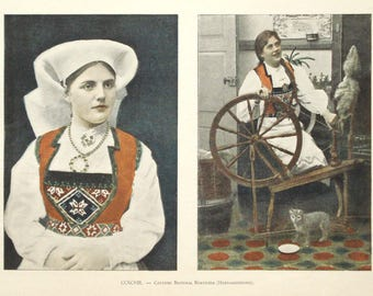 1895 Norwegian girls print - Norway, folk, traditional dress, victorian wall decor - 122yr old antique photographic illustration (C553)