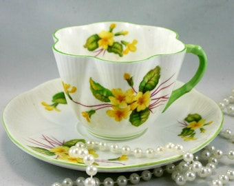 Lovely,Shelley Teacups & Saucer, Dainty  Primrose, Fine English China made in 1960s.