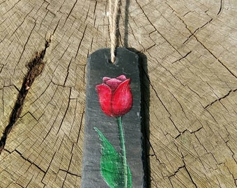 Pink Tulip - Reclaimed Slate Wall Hanging