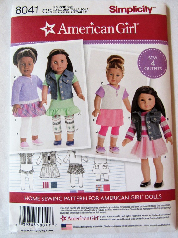 Simplicity 8041 American Girl Doll Clothing Pattern New Uncut