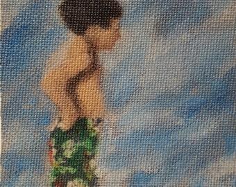Miniature Impressionist, Abstract Art Boy at Beach