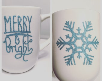 Merry & Bright Coffee Mug White with Blue Sparkle