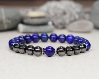 Men bracelet-for-him birthday gift-for-boyfriend gift men gift Gemstone bracelet Blue bracelet Reiki jewelry Fashion jewelry-for-men jewelry