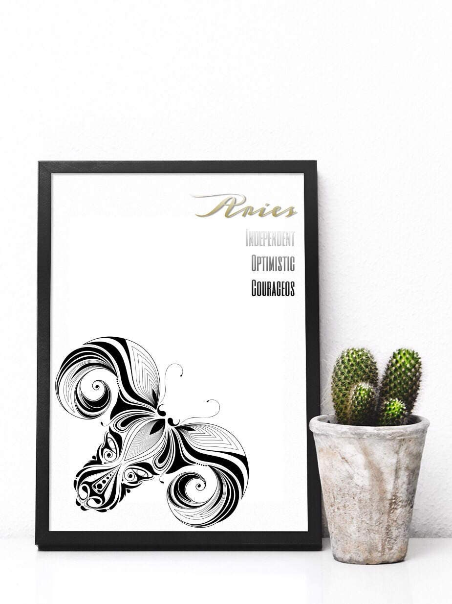 Printable minimalist aries zodiac digital art for Minimalist art characteristics
