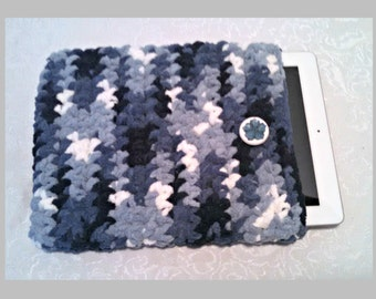 Chenille 10 Inch Tablet iPad Cover with Vintage Button, Hand Crocheted Tablet Sleeve, Blue, #FB-B14-2, Washable, Free Domestic Shipping