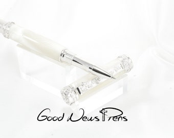 Writing Pens, Rollerball Pens, High End Pens, Custom Pens, White Pearl Pens, Executive Office Desk,Executive Gift,Mother of Pearl,Luxury Pen