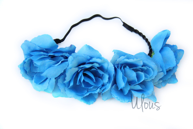 Blue Flower Crown Flower Crown Flower Headband Coachella