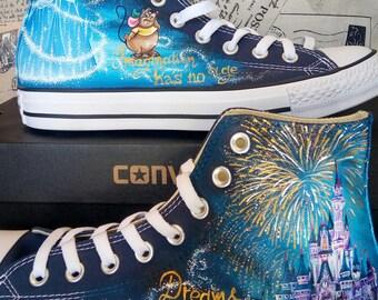 Disney hand painted shoes , Disney shoes , Cinderella castle , Cinderella shoes , Cinderella , Wedding hand painted shoes, wedding shoes