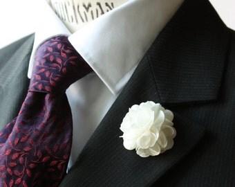 Lapel Pin - boutonniere - Flower - White Satin - men flower lapel pin, Dapper Men, Dandy, Wedding Groom