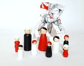 Peg doll set To Go with color matching caring / storage bag - red, white, black - pretend play - make believe - wood dolls - ready to ship