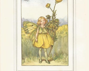 1927 flower fairies of the summer the buttercup fairy, antique print by cicely m barker  vintage nursary wall decor