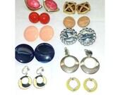 Vintage Clip On Earrings,10 Pair,Screwback Earrings,Destash,Craft Supply,Vintage Earrings,Earring Lot,Vintage Jewelry,Resell,Resale,Earrings