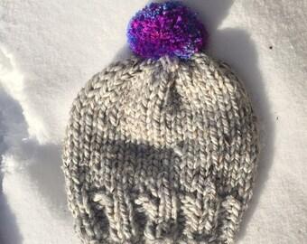 Child's (14-16'' head) Heathered Grey Knit winter hat/toque/beanie with Purple pom pom