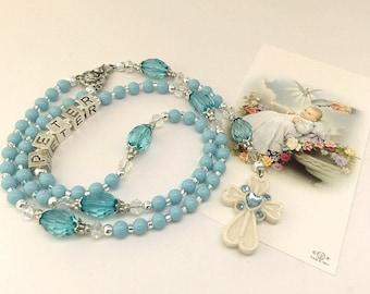 Personalized Rosary. Baptism Rosary. Blue Rosary, Baby Rosary. Christening Rosary. Catholic Rosary. Catholic Gift. Holy Rosary. #R144