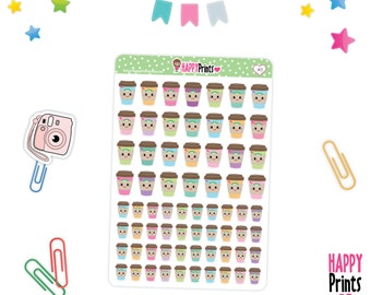 H 145) -- Coffee Kawaii Stickers, Coffee cup Planner Stickers
