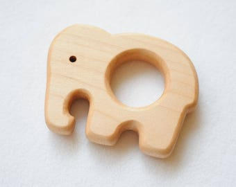 Wooden teether elephant, Teething baby, Wood ring, Educational, Wooden shape, Organic toy, Toddler activity, Natural eco friendly, Sensoric