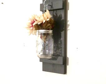 Hanging Mason Jar Wall Sconce Flower Vase Candle Sconce Wall Mounted Rustic Decor Gray