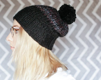 Dark Two-Tone Chunky Knit Hat