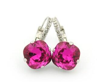 Crystal earrings - holiday earrings - fuchsia earrings - Swarovski crystal - party earrings - crystal drop earrings - pink crystal earrings