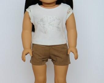 Light Brown Khaki Cuffed Shorts - 18 Inch Doll Clothes