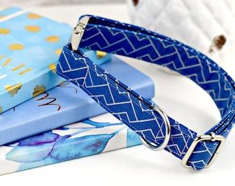 Dog Collar - Denim Blue/Silver Geometric